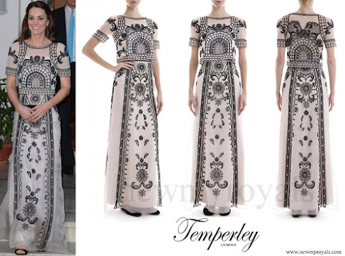 Kate Middleton wore Temperley London Delphia Embroidered Crop Top and Embroidered Silk-Organza Maxi Skirt