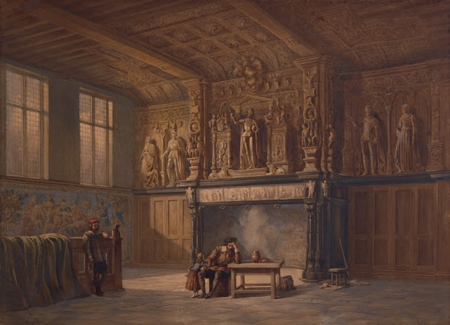 "Artwork, XIX century art, watercolours, ""Interior of the Hall of Justice, Bruges"" by John Chase, 1846."