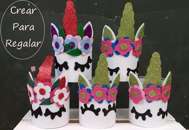 unicornios en goma eva reciclando latas de conserva