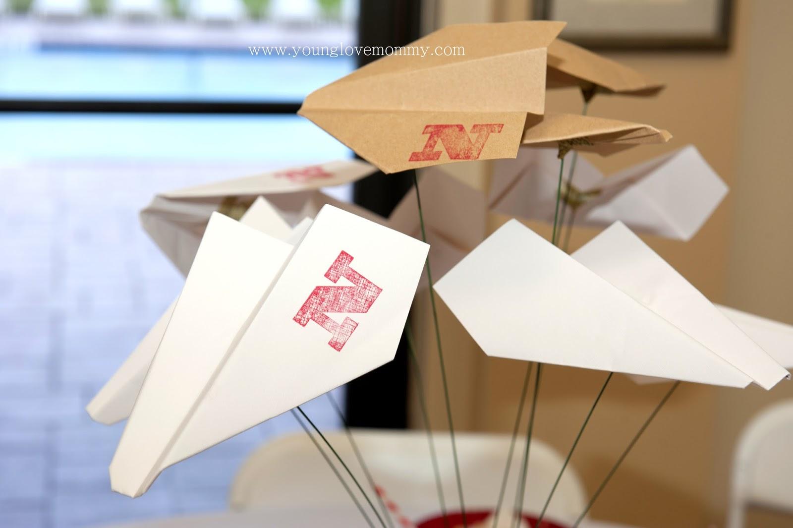 Vintage Airplane Party Paper Airplanes Centerpiece First Birthday