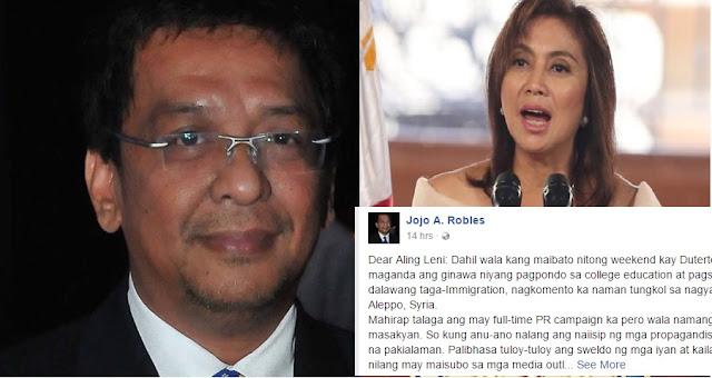 Columnist hits Robredo:Wala ka naman talagang trabaho as VP na walang Cabinet post. Hindi kailangan sobrang exposed ka sa media.
