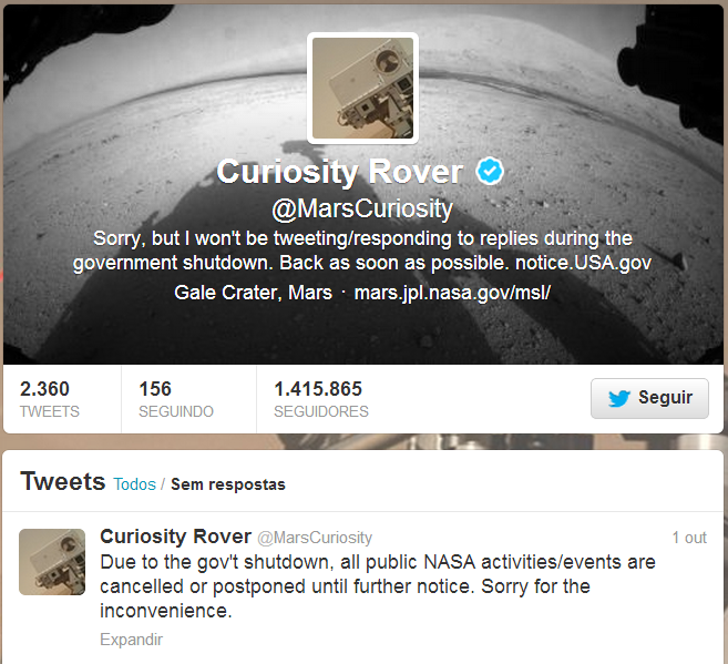 twitter mars curiosity shutdown all public nasa activities events