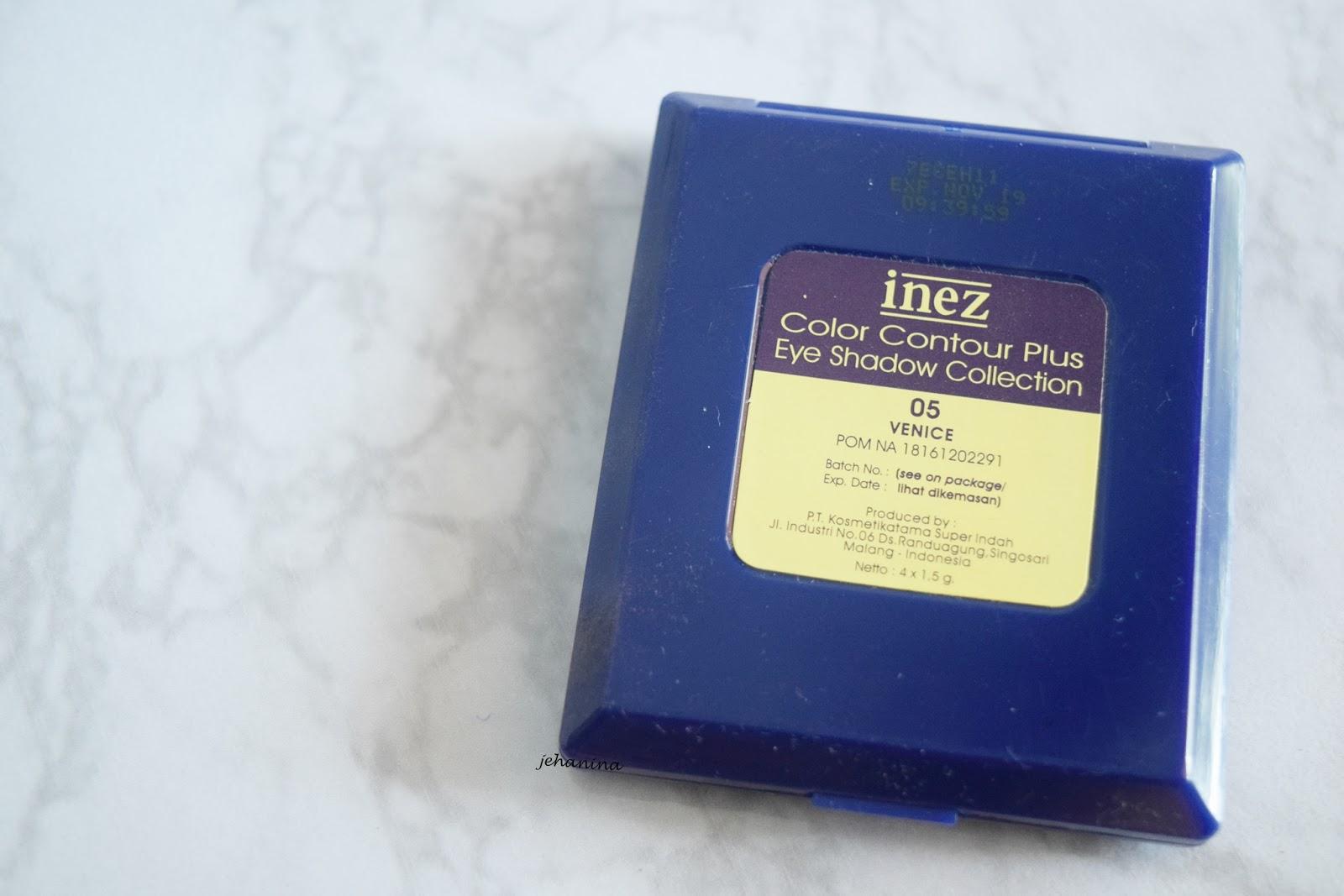 Jehanina Review Inez Eyeshadow Color Contour Plus No 05 Venice Collection 06 Alaska Packagingnya Berbentuk Pact Berwarna Biru Tua Dengan Ada Logo Gold Shoo Simple