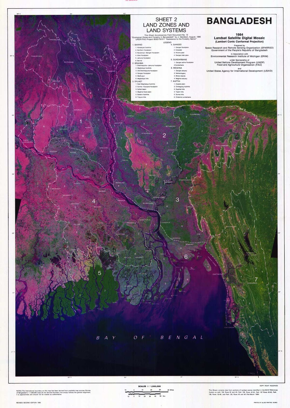 Landsat (TM) Satellite Digital Mosaic Image of Bangladesh