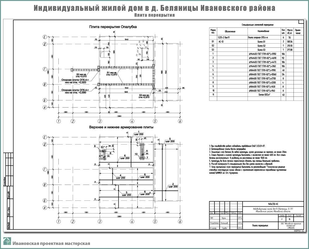 Проект одноэтажного жилого дома в пригороде г. Иваново - д. Беляницы Ивановского района. Перекрытие