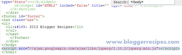 Adding jQuery to Blogger