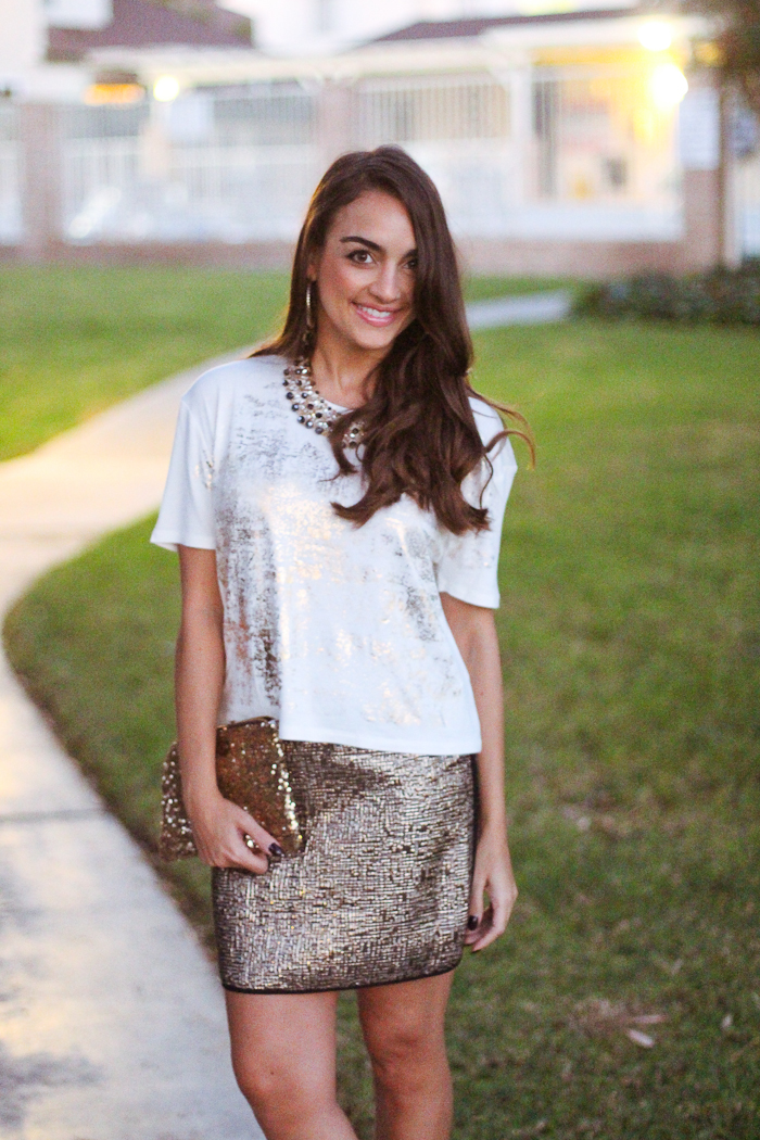 sears metaphor metallic gold skirt and top