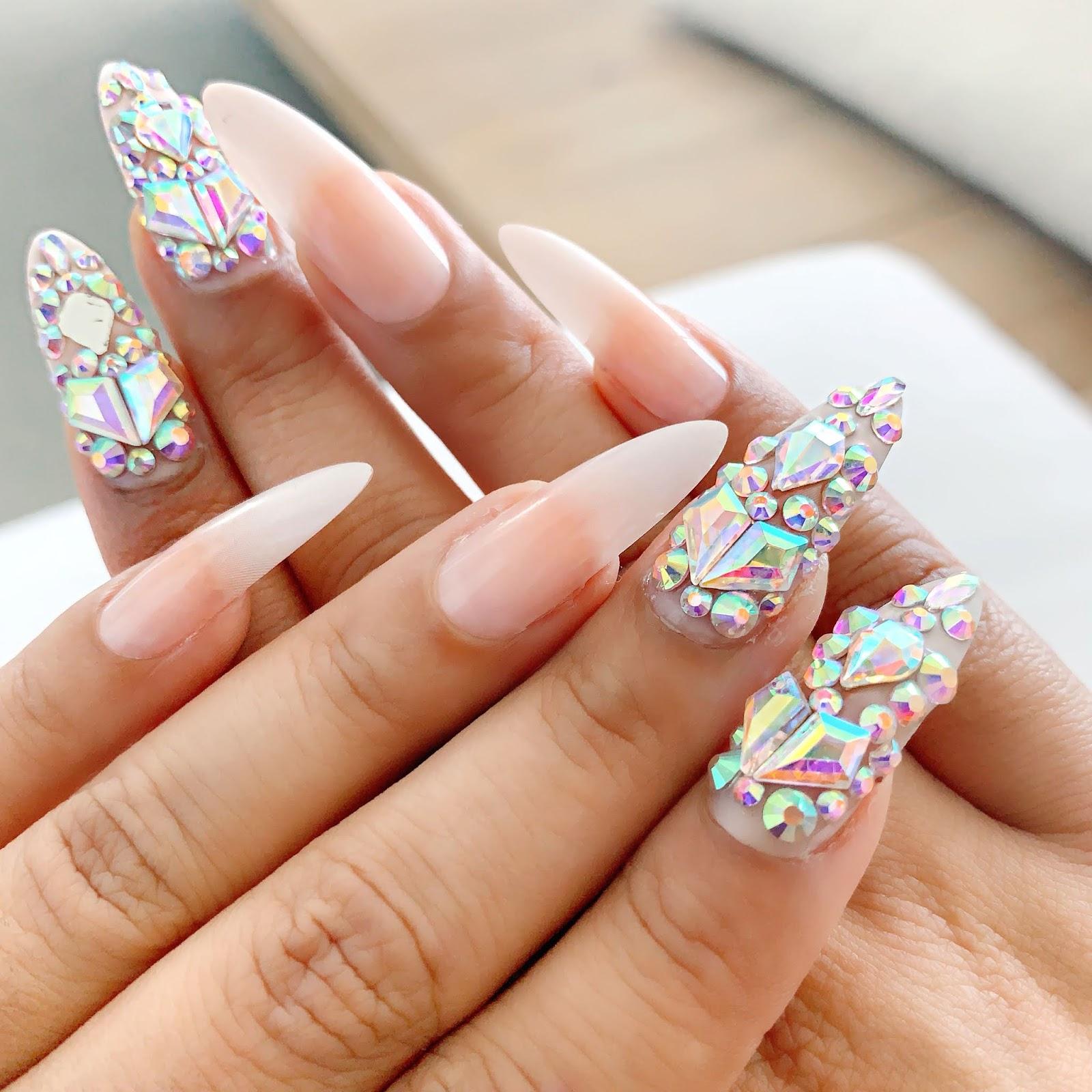 Stiletto-Shape-Long-Nails-Gems-Nail-Art