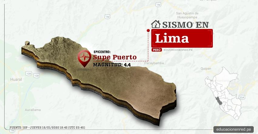 Temblor en Lima de Magnitud 4.4 (Hoy Jueves 16 Enero 2020) Sismo - Epicentro - Supe Puerto - Barranca - IGP - www.igp.gob.pe