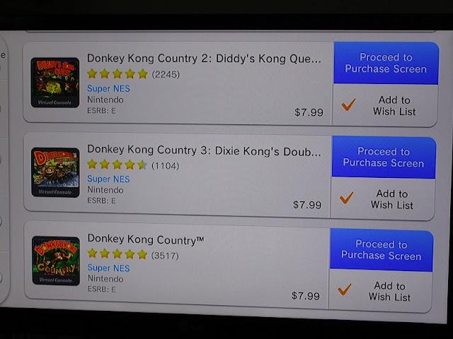 Wii U eShop Virtual Console Donkey Kong Country series 2 3 $7.99
