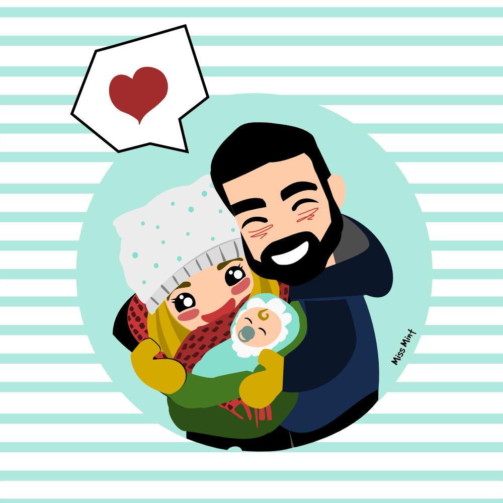 ilustraciones personalizadas regalos de bebé miss mint