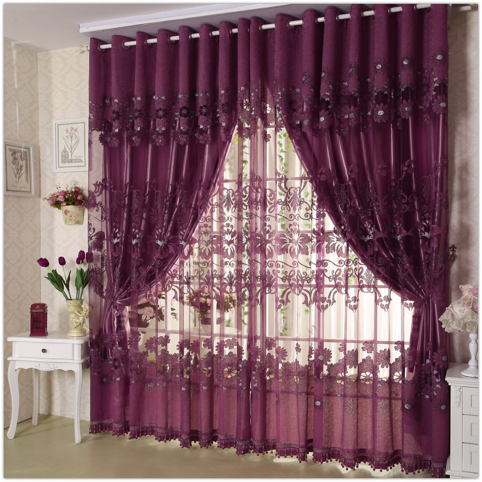 Curtain Frame French Door Frills Fringe From Ceiling