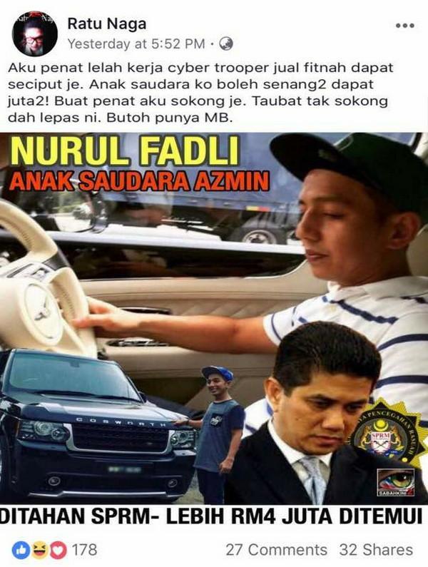 Anak Saudara Azmin Ali, MB Selangor Ditahan SPRM, RM4j Dibekukan