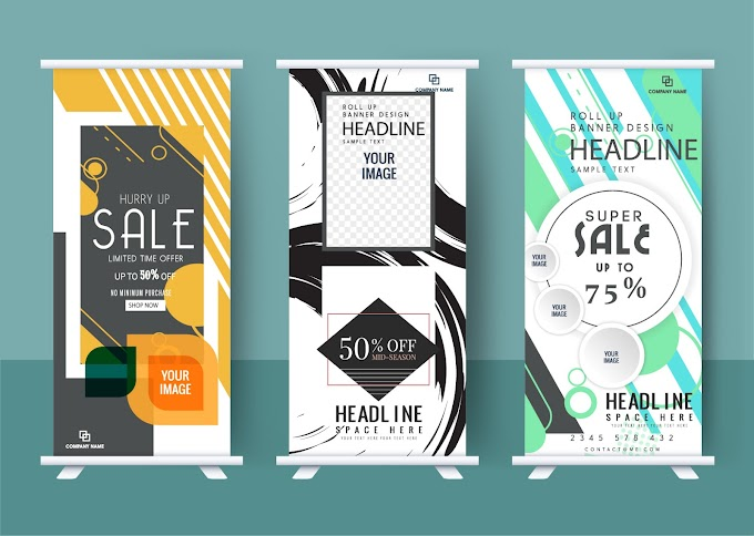 Business posters templates modern abstract decor vertical roll Free vector