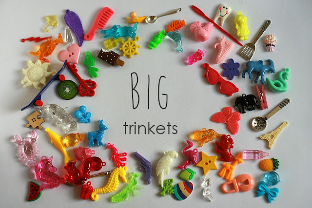 BIG I Spy trinkets for sensory box, party favors, vintage children charm necklace, kids crafts, small toys, alphabet box fillers miniatures, tomoty