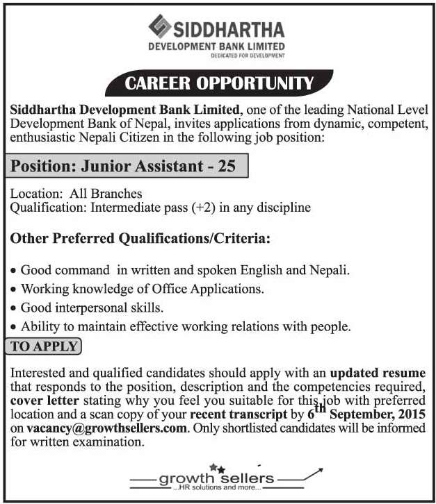 Bank Jobs In India Junior Assistant Posts In National Co: Siddhartha Development Bank Limited