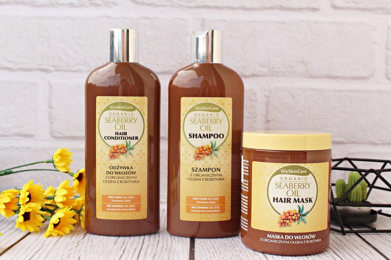 Regeneracja włosów z kosmetykami GlySkinCare - Szampon, odżywka i maska do włosów z organicznym olejem z rokitnika