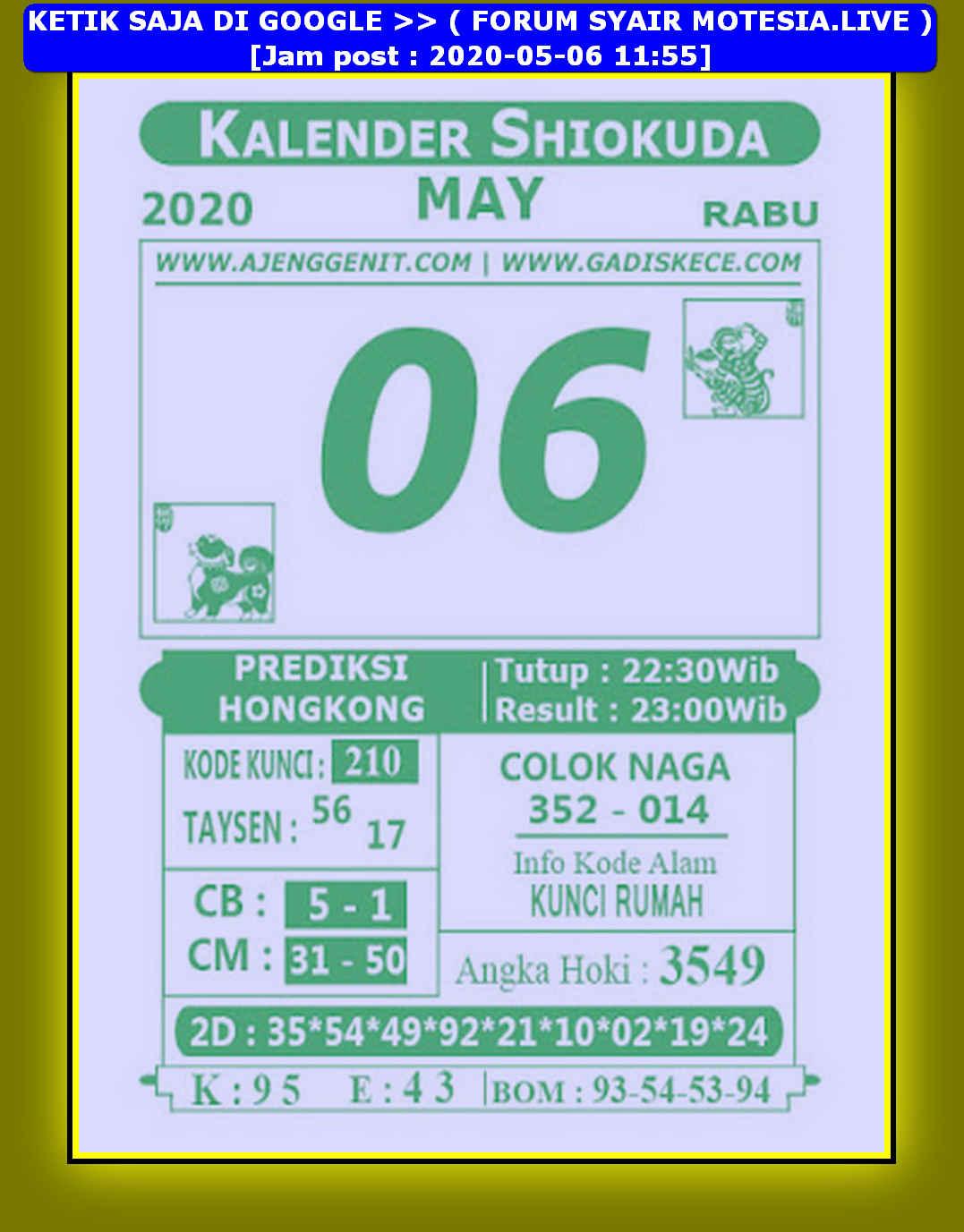 Kode syair Hongkong Rabu 6 Mei 2020 190