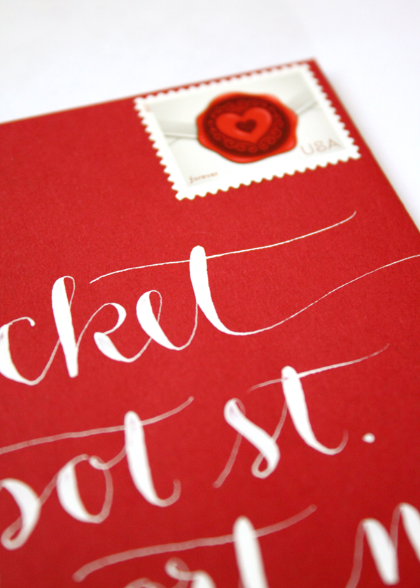 White Calligraphy on Red Envelopes by Letter Be On Etsy Closeup