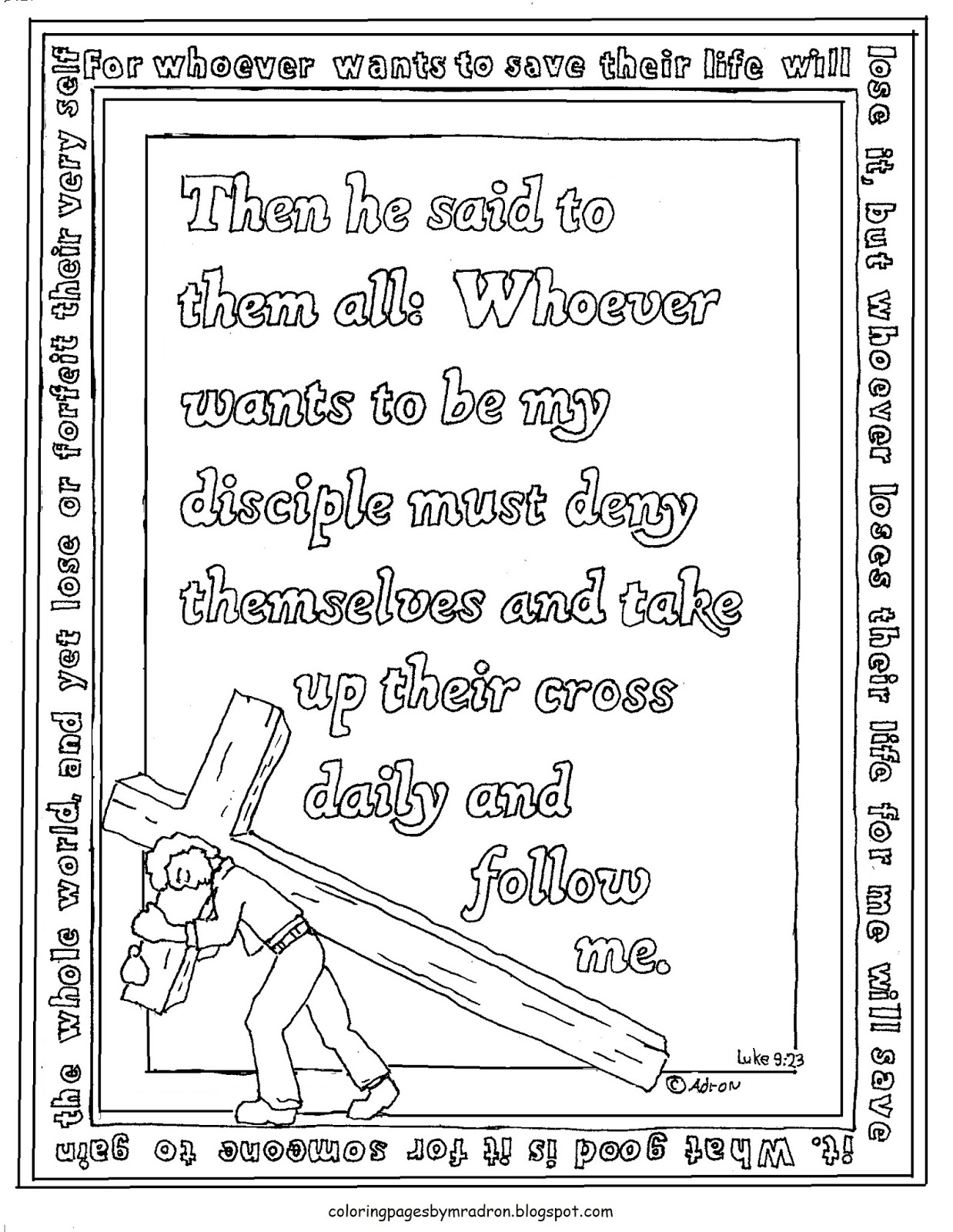 Coloring pages for 9 and up - Printable Luke 9 23 Coloring Page Take Up Their Cross Daily