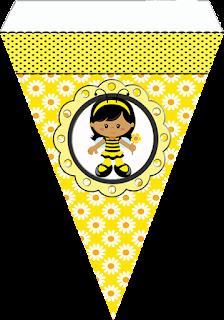 Banderines de  Niñas Abejitas para imprimir gratis.