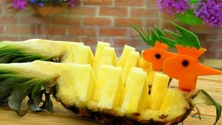 Art In Pineapple Peacock   Pineapple Art   Fruit Carving   Party Garnishing   Food Decoration