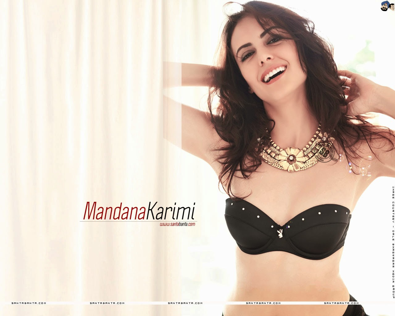 Mandana Karimi Smiling In Black Bra
