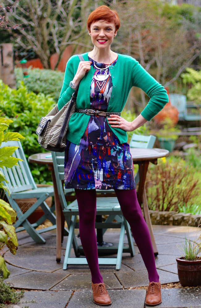 Fake Fabulous | Evening wear as daywear | Silk dress & Cashmere cardigan | Purple & green.