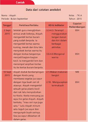 Format Catatan Anekdot Bulanan PAUD Kurikulum 2013