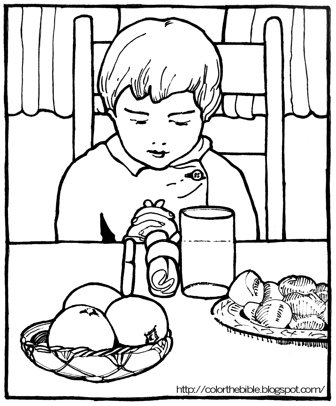 Pray Before Eating | Color The Bible