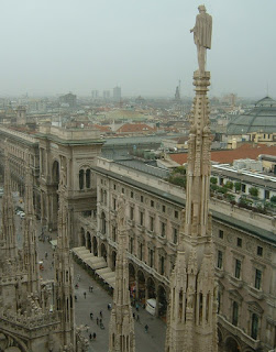La Rinascente in Milan, with its rooftop garden, as seen from the roof of the neighbouring Duomo