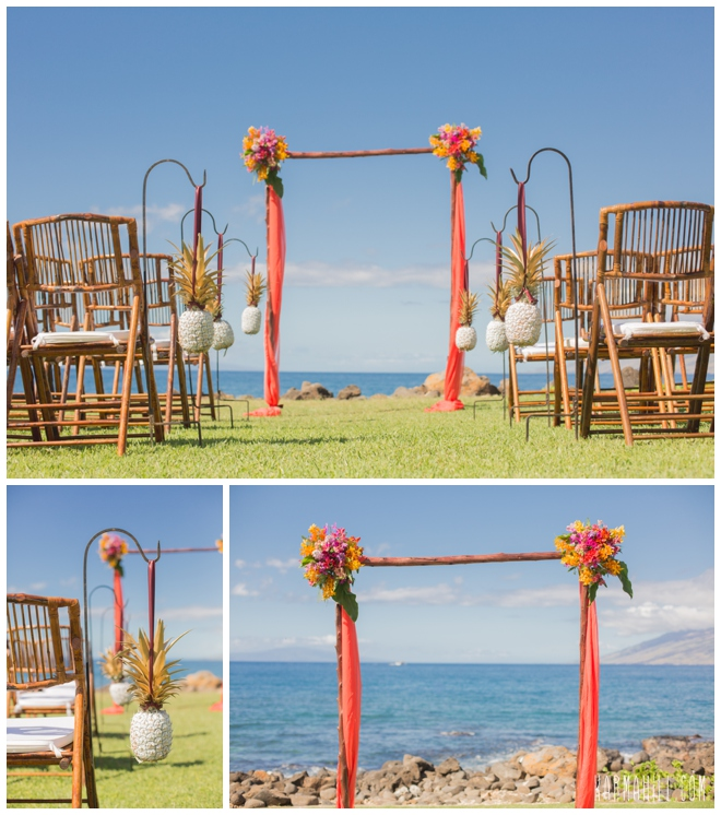 Tropical Maui wedding venue set up