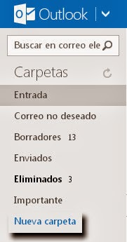 Crear carpetas y subcarpetas en Outlook.com
