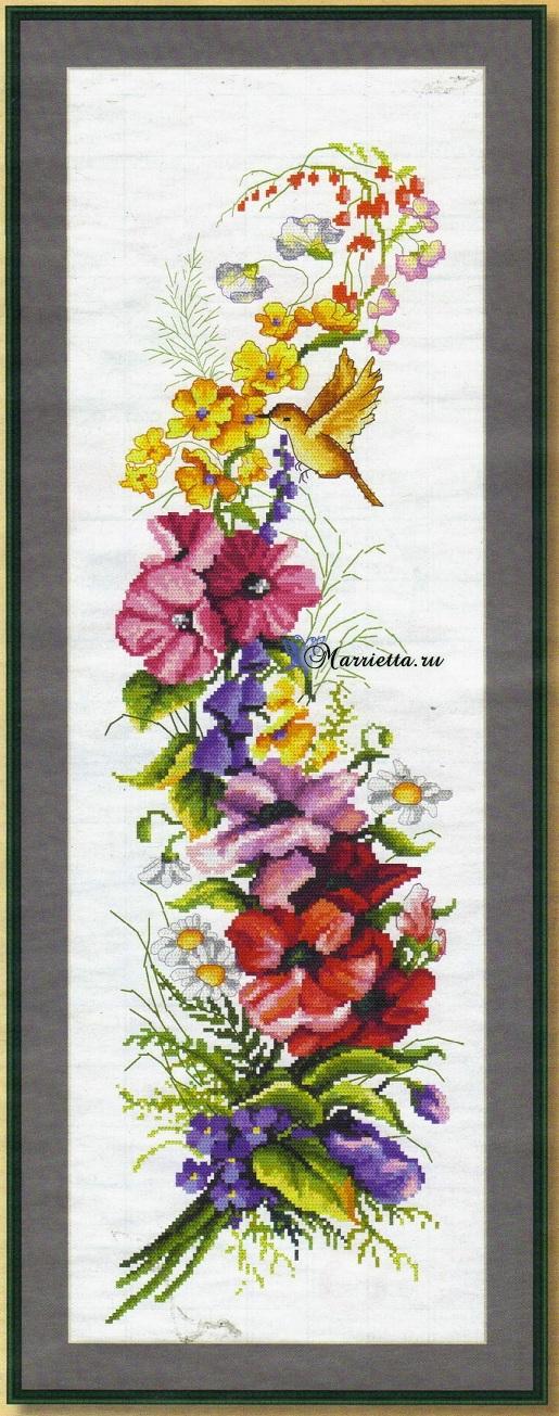 Летний букет цветов с птичкой. Схемы вышивки (1)