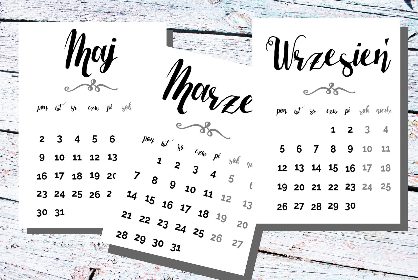 Piękne Kalendarze 2016 Do Druku 16 Propozycji Z Układem