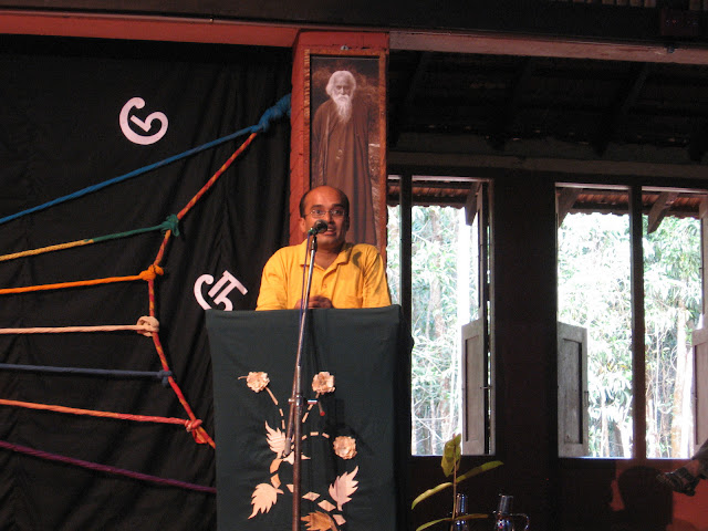 Chanda publication's Vasudhendra speaking at Ninasam, Heggodu