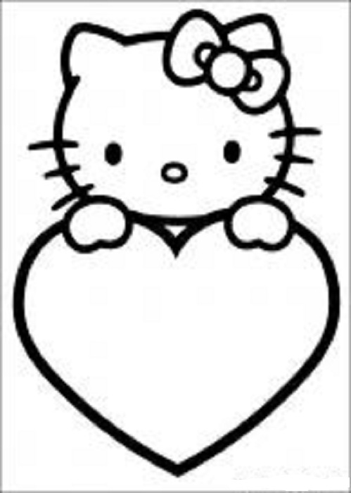 Coloring Page Valentines Kitty
