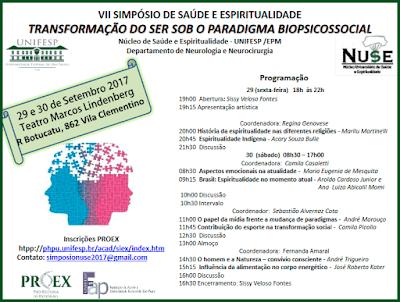 Convite VII Simpósio de Saúde e Espiritualidadeda Unifesp - acesse http://dpdphp.epm.br/acad/siex/php/main.php?page=INS&in=&opcao=ABR&acao=2&code=12798