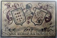 Escudo heráldico personalizado con los apellidos vascos Montoya-Aldanondo al estilo socarrat