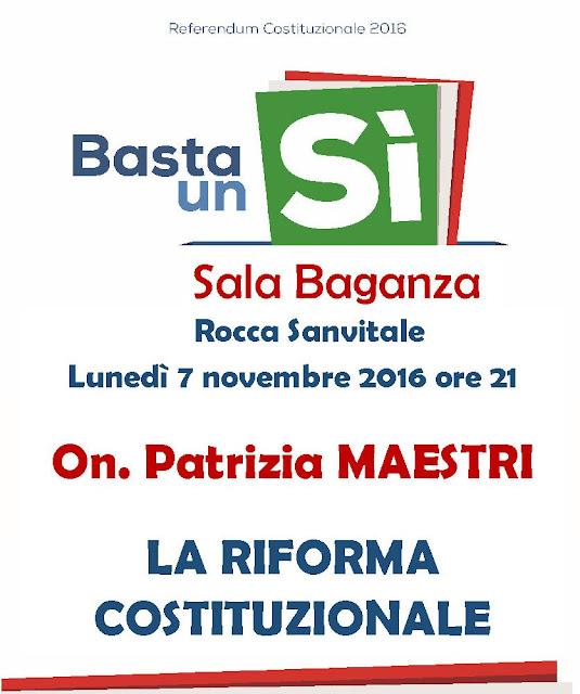La Riforma Costituzionale, incontro con on. Patrizia Maestri, 7 nov Rocca Sanvitale