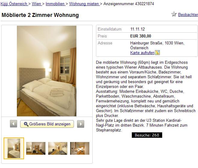 Wohnungsbetrug.blogspot.com: Möblierte 2 Zimmer Wohnung