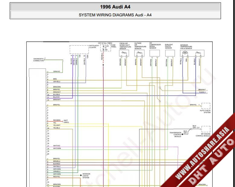 Free Automotive Manuals: AUDI A4 1996 WIRING DIAGRAM
