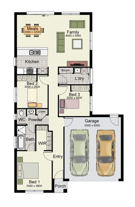 Single story home floor plan with 3 bedrooms, 2 baths, double garage, and 150 square meters