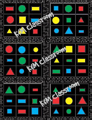 Shapes Bingo Small Game Sheet