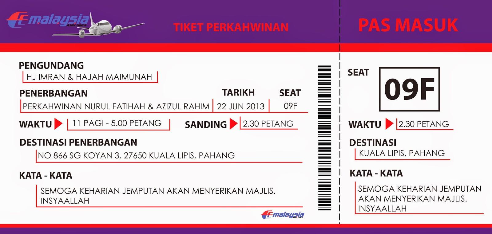 Kad Kahwin Tiket Penerbangan Berbagai Bekalan Rumah