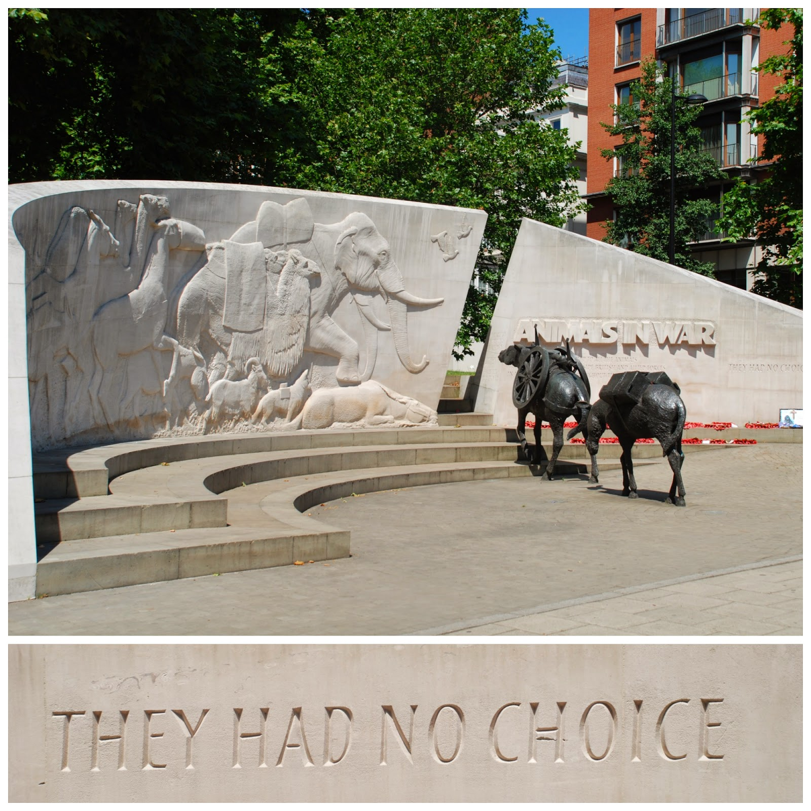 Animals in War Memorial, Park Lane, London