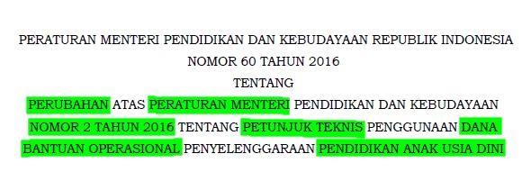 Permendikbud Nomor 60 Tahun 2016 Tentang Juknis Dana Bantuan Operasional Penyelenggaraan PAUD