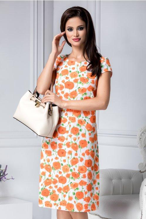 Rochie alba eleganta de zi Imprimeu cu flori si croi drept