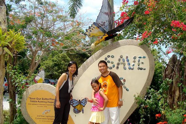 family photo at Penang Butterfly Farm in Penang, Malaysia