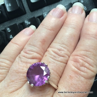 synthentic alexandrite in silver setting